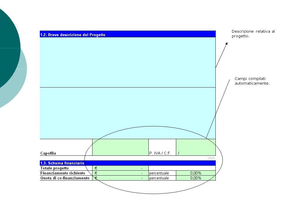 Descrizione relativa al progetto. Campi compilati automaticamente.