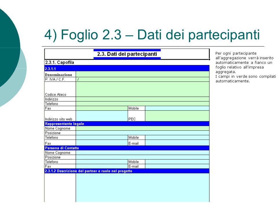 4) Foglio 2.3 – Dati dei partecipanti Per ogni partecipante all'aggregazione verrà inserito automaticamente a fianco un foglio relativo all'impresa ag
