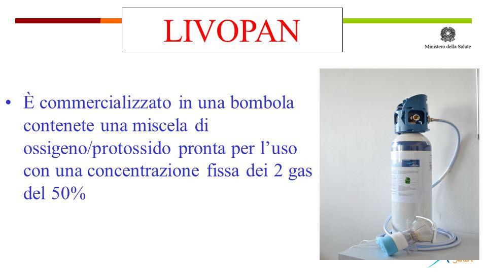 È commercializzato in una bombola contenete una miscela di ossigeno/protossido pronta per l'uso con una concentrazione fissa dei 2 gas del 50% LIVOPAN