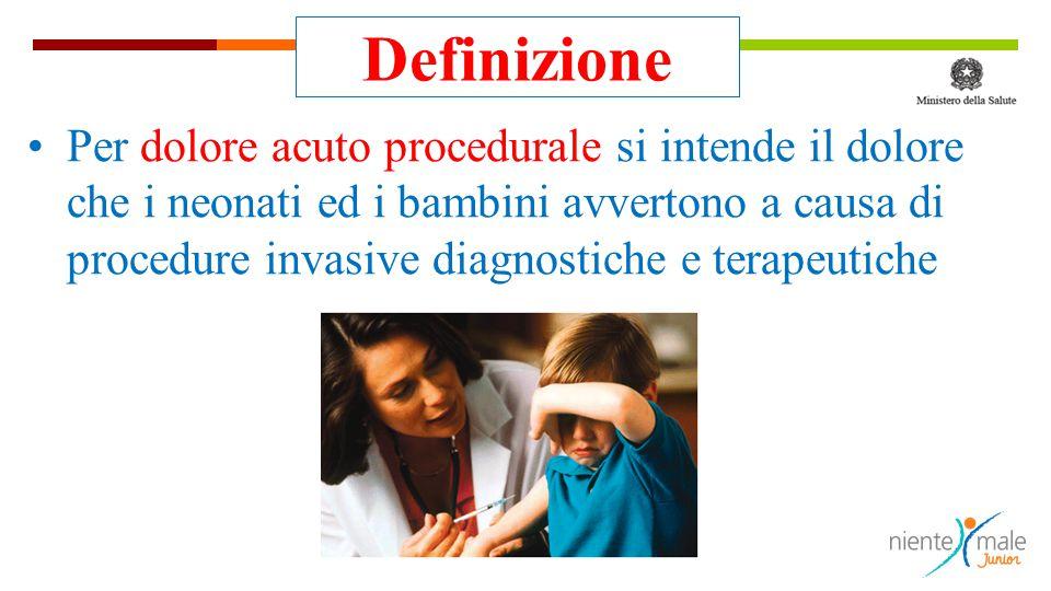  Le procedure dolorose sono spesso identificate, dai bambini e dalle loro famiglie come la componente più temuta e angosciante delle cure mediche.