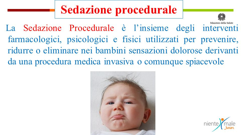 Sedazione procedurale La Sedazione Procedurale è l'insieme degli interventi farmacologici, psicologici e fisici utilizzati per prevenire, ridurre o el