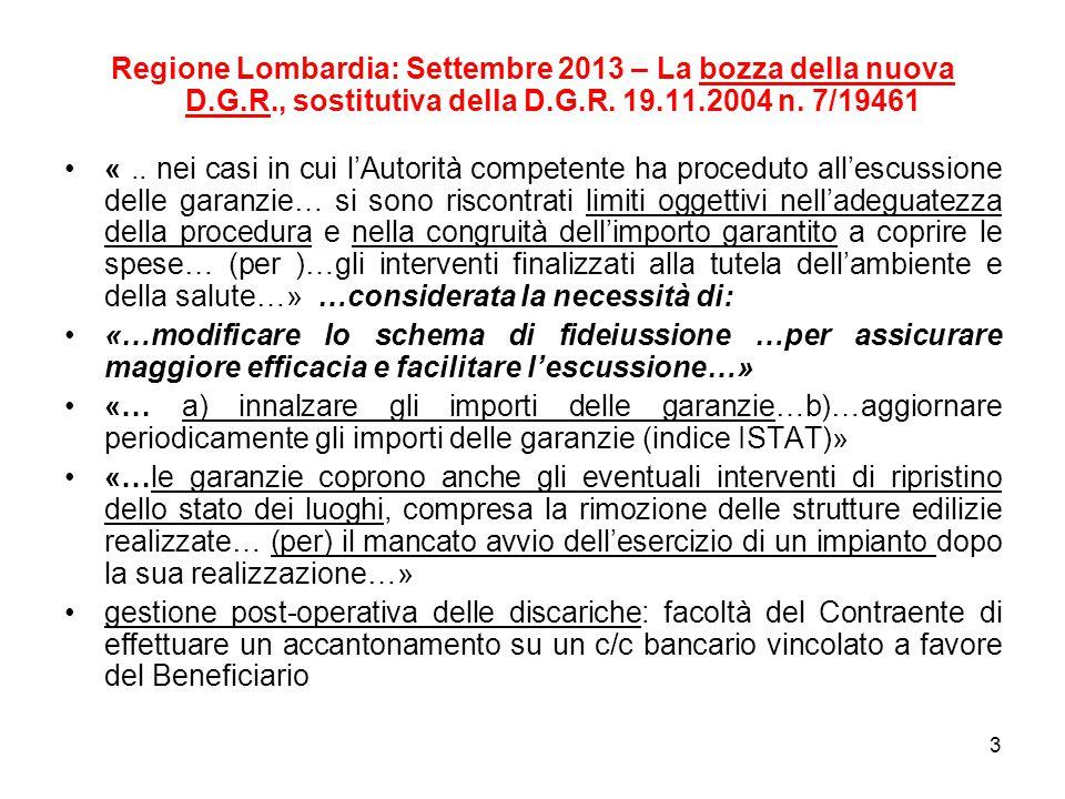 Regione Lombardia: Settembre 2013 – La bozza della nuova D.G.R., sostitutiva della D.G.R.
