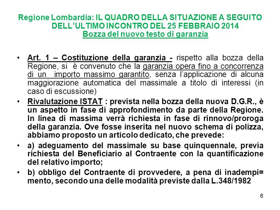 Regione Lombardia: IL QUADRO DELLA SITUAZIONE A SEGUITO DELL'ULTIMO INCONTRO DEL 25 FEBBRAIO 2014 Bozza del nuovo testo di garanzia Art.