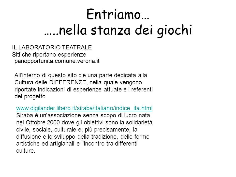 Entriamo… …..nella stanza dei giochi IL LABORATORIO TEATRALE Siti che riportano esperienze pariopportunita.comune.verona.it All'interno di questo sito c'è una parte dedicata alla Cultura delle DIFFERENZE, nella quale vengono riportate indicazioni di esperienze attuate e i referenti del progetto www.digilander.libero.it/siraba/italiano/indice_ita.html Siraba è un associazione senza scopo di lucro nata nel Ottobre 2000 dove gli obiettivi sono la solidarietà civile, sociale, culturale e, più precisamente, la diffusione e lo sviluppo della tradizione, delle forme artistiche ed artigianali e l incontro tra differenti culture.