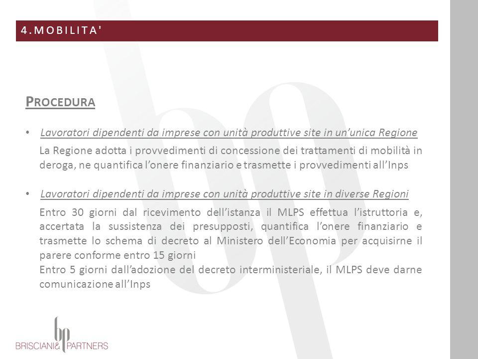 4.MOBILITA' P ROCEDURA Lavoratori dipendenti da imprese con unità produttive site in un'unica Regione La Regione adotta i provvedimenti di concessione