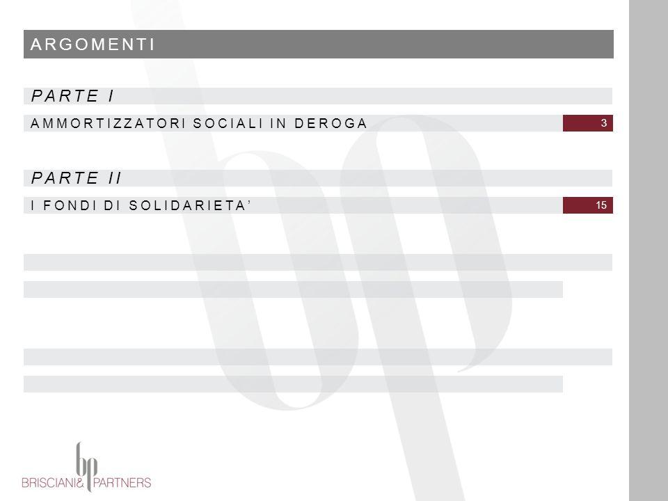 ARGOMENTI AMMORTIZZATORI SOCIALI IN DEROGA 3 PARTE I I FONDI DI SOLIDARIETA' 15 PARTE II