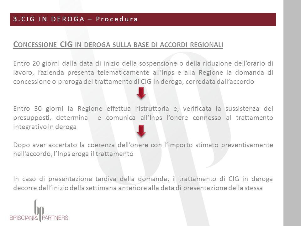 3.CIG IN DEROGA – Procedura C ONCESSIONE CIG IN DEROGA SULLA BASE DI ACCORDI REGIONALI Entro 20 giorni dalla data di inizio della sospensione o della