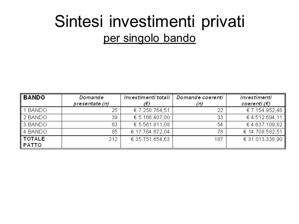 Sintesi investimenti privati per singolo bando