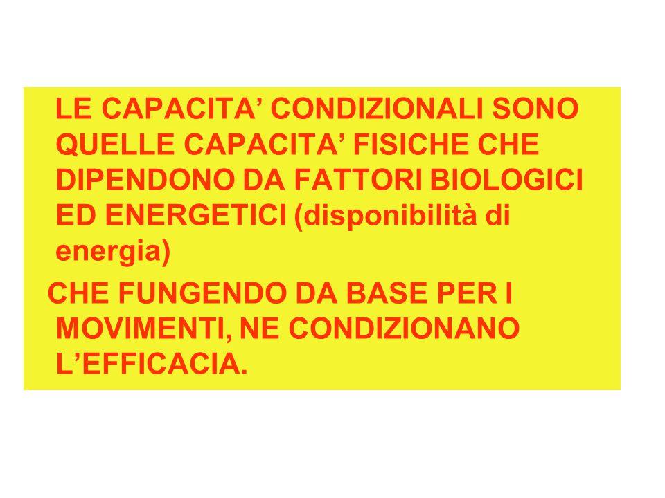 LE CAPACITA' CONDIZIONALI SONO QUELLE CAPACITA' FISICHE CHE DIPENDONO DA FATTORI BIOLOGICI ED ENERGETICI (disponibilità di energia) CHE FUNGENDO DA BA