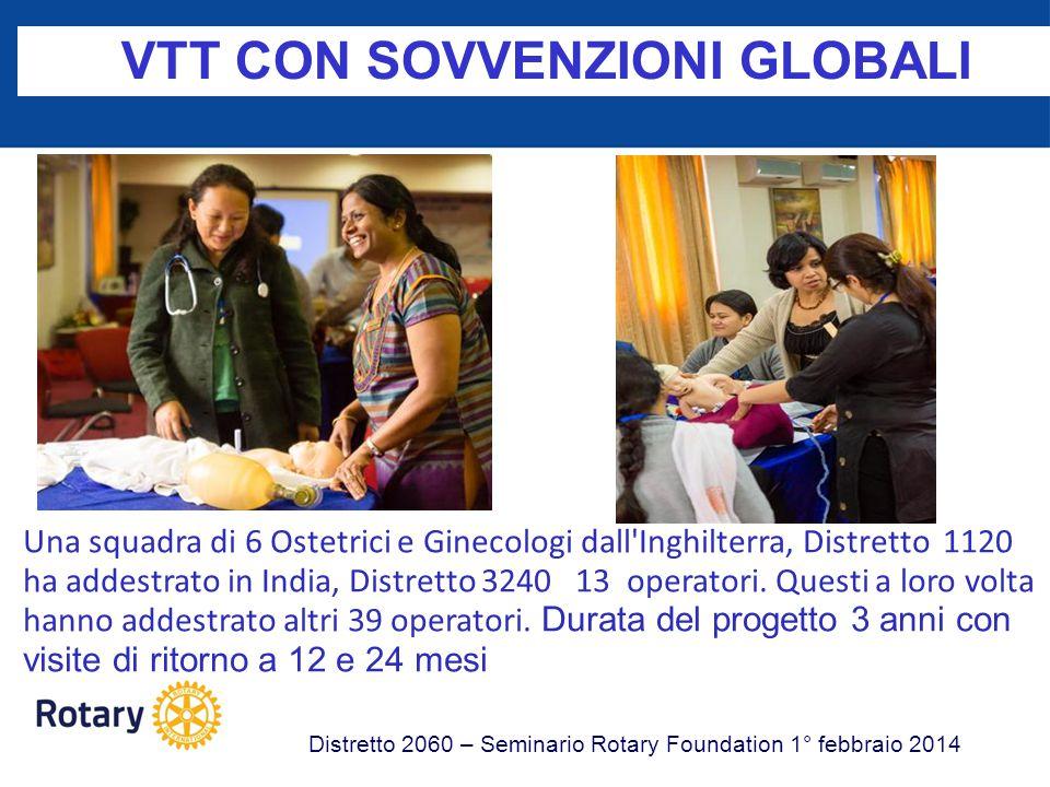 VTT CON SOVVENZIONI GLOBALI Distretto 2060 – Seminario Rotary Foundation 1° febbraio 2014 Una squadra di 6 Ostetrici e Ginecologi dall'Inghilterra, Di
