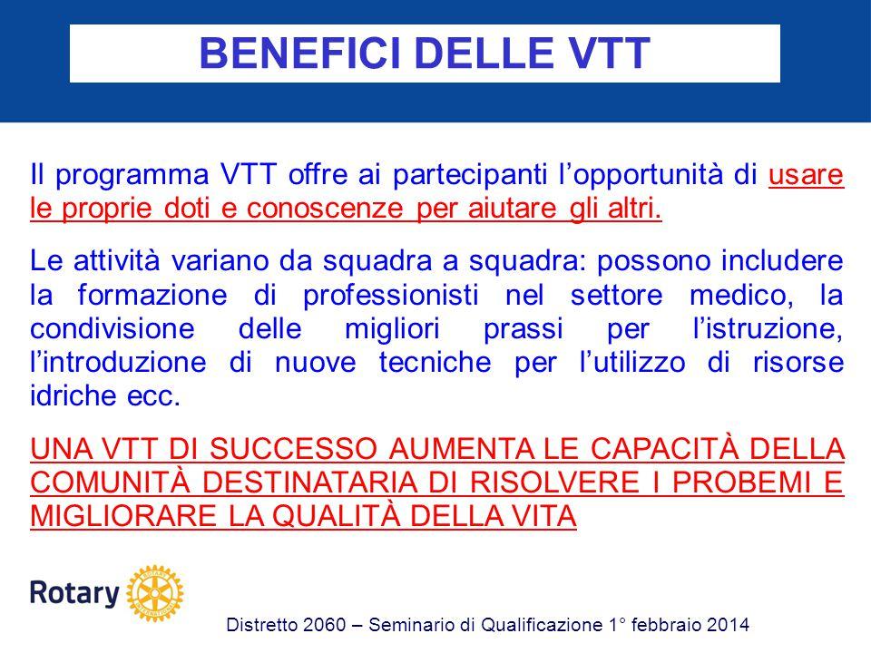 FINANZIAMENTO DELLE VTT Distretto 2060 – Seminario Rotary Foundation 1° febbraio 2014 Le VTT possono essere finanziate con: -SOVVENZIONI DISTRETTUALI -SOVVENZIONI GLOBALI -SOVVENZIONI PREDEFINITE