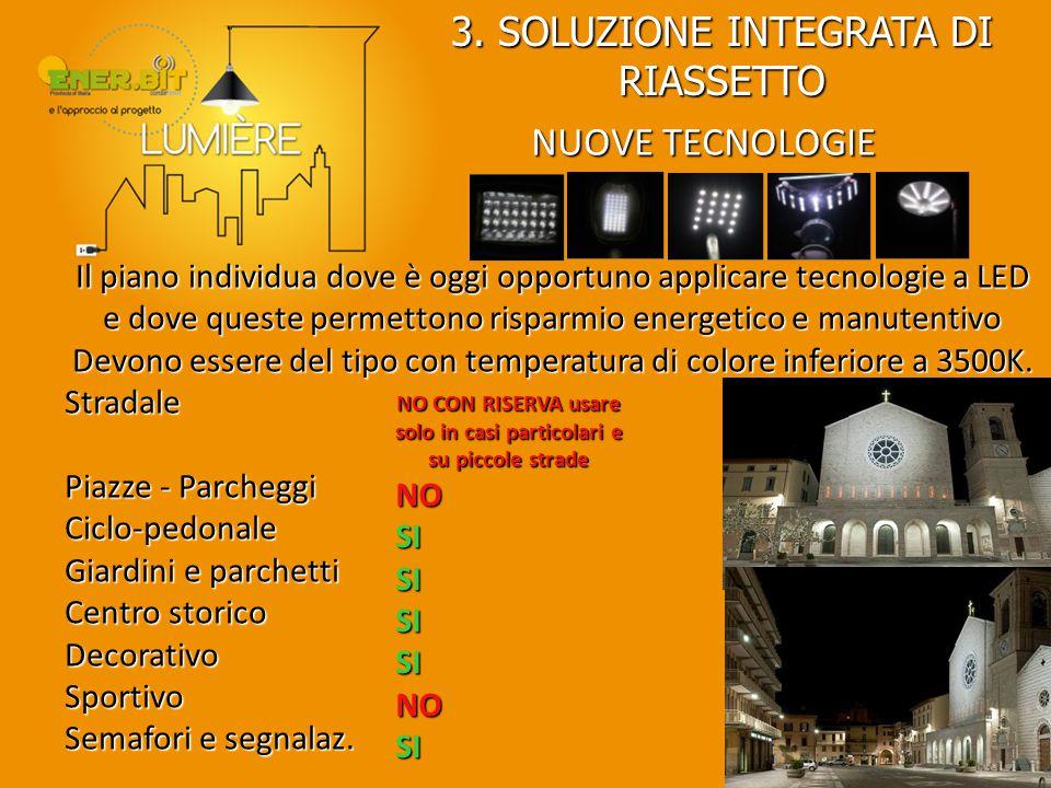 NUOVE TECNOLOGIE Il piano individua dove è oggi opportuno applicare tecnologie a LED e dove queste permettono risparmio energetico e manutentivo Devon