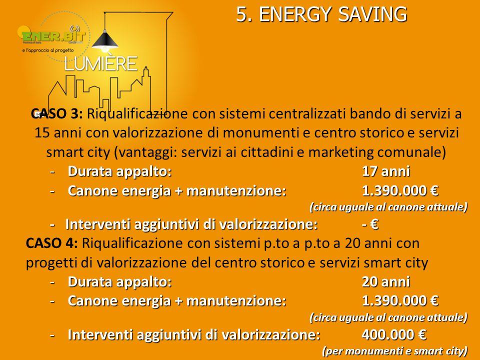 5. ENERGY SAVING CASO 3: Riqualificazione con sistemi centralizzati bando di servizi a 15 anni con valorizzazione di monumenti e centro storico e serv