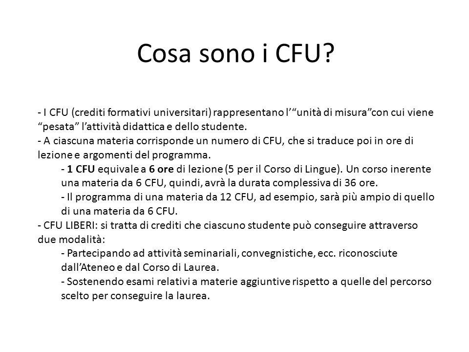 """Cosa sono i CFU? - I CFU (crediti formativi universitari) rappresentano l'""""unità di misura""""con cui viene """"pesata"""" l'attività didattica e dello student"""