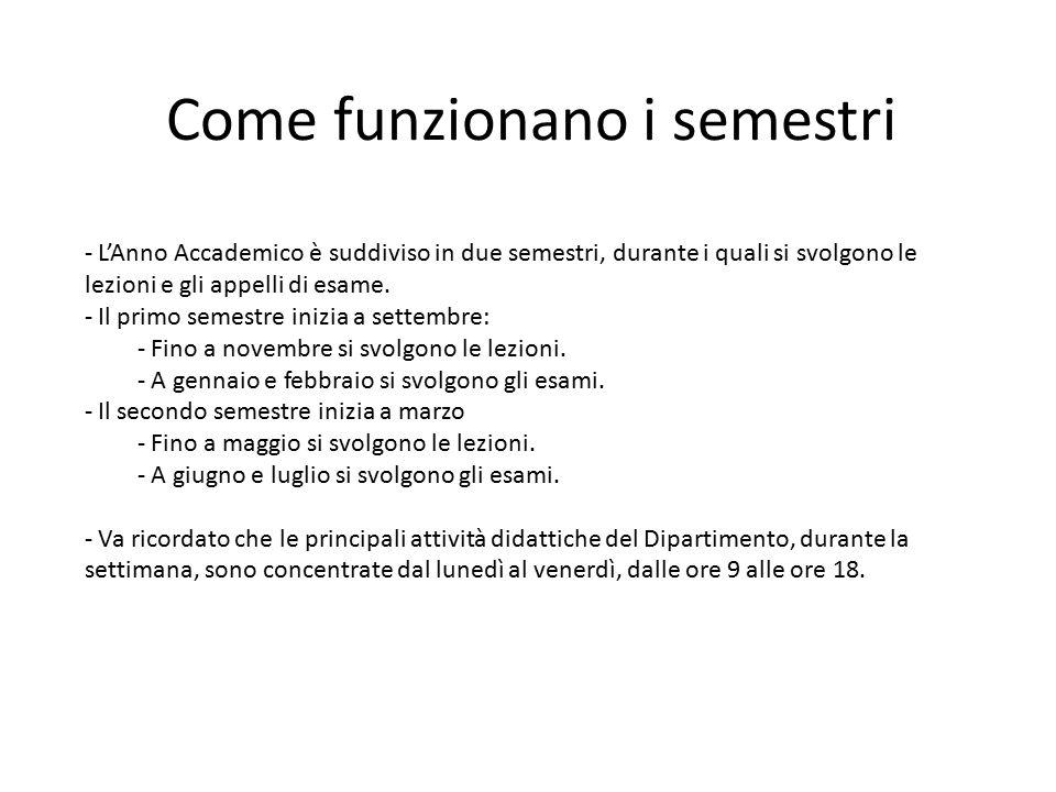 Come funzionano i semestri - L'Anno Accademico è suddiviso in due semestri, durante i quali si svolgono le lezioni e gli appelli di esame. - Il primo