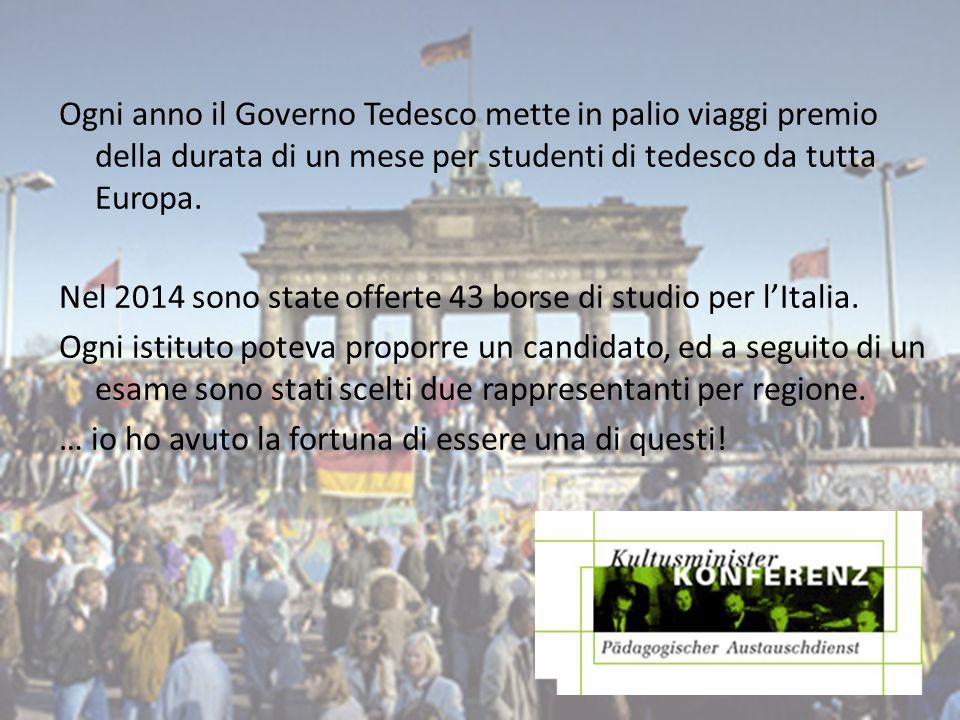 Ogni anno il Governo Tedesco mette in palio viaggi premio della durata di un mese per studenti di tedesco da tutta Europa.