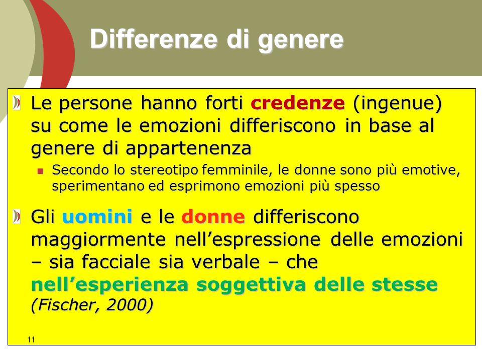 Differenze di genere Le persone hanno forti credenze (ingenue) su come le emozioni differiscono in base al genere di appartenenza Secondo lo stereotip