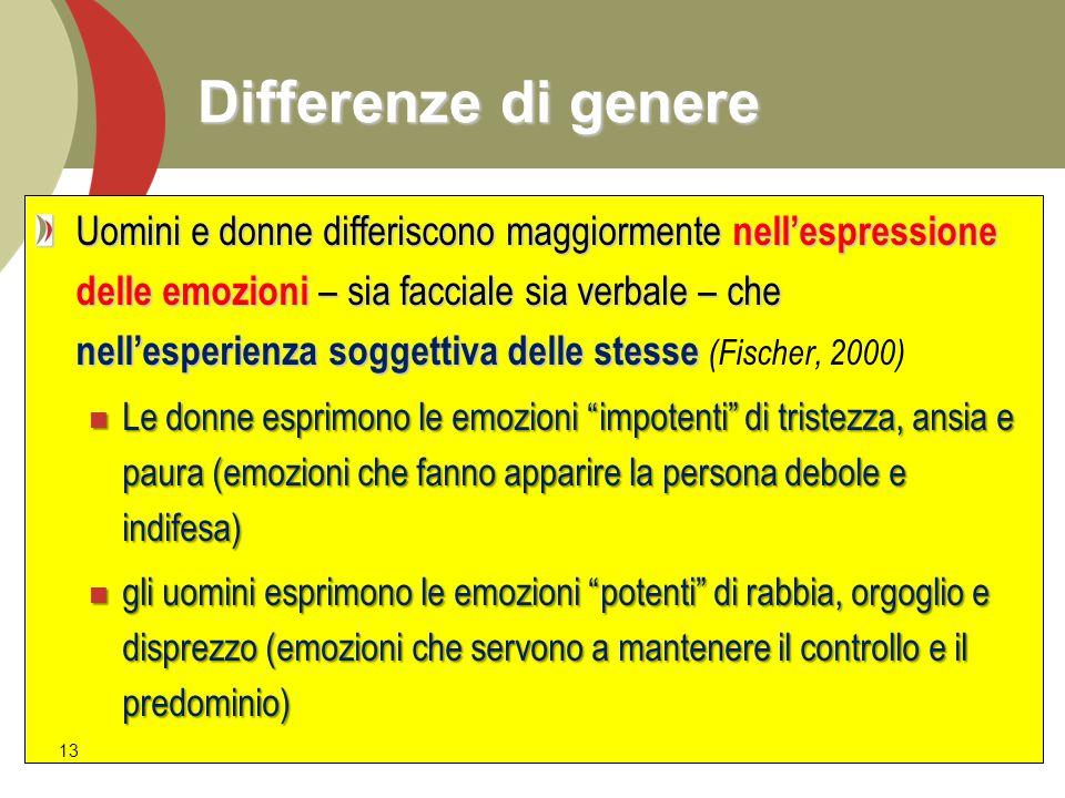 Differenze di genere Uomini e donne differiscono maggiormente nell'espressione delle emozioni – sia facciale sia verbale – che nell'esperienza soggett