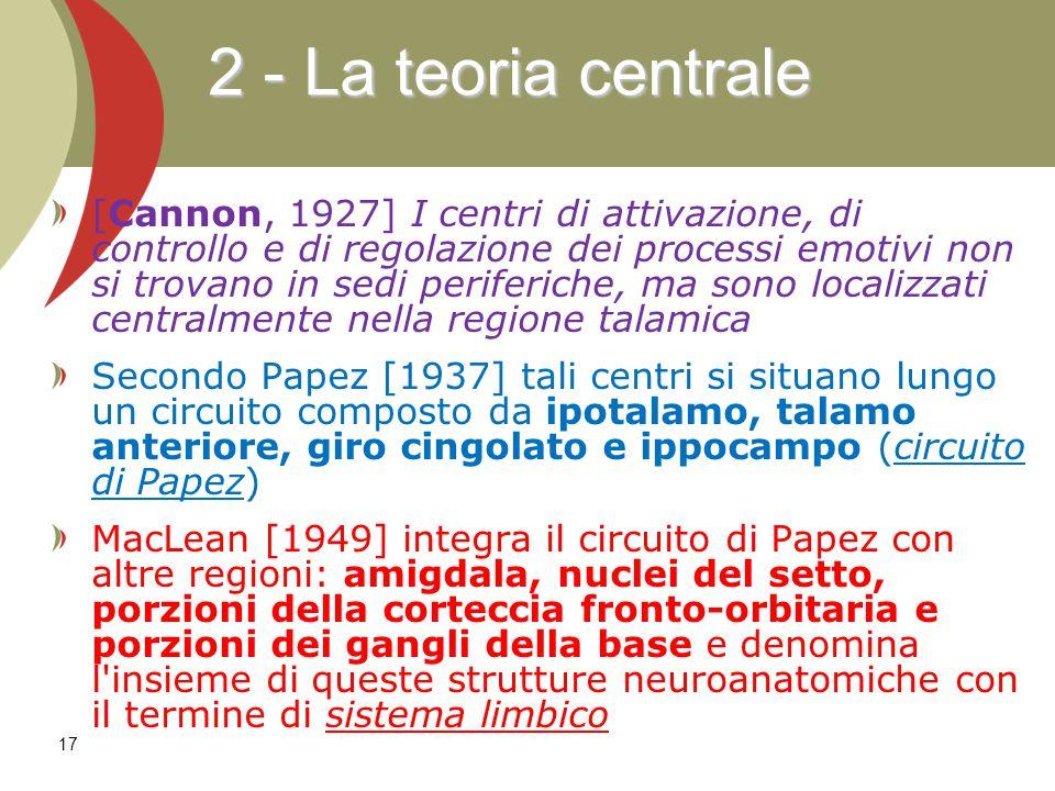 17 [Cannon, 1927] I centri di attivazione, di controllo e di regolazione dei processi emotivi non si trovano in sedi periferiche, ma sono localizzati