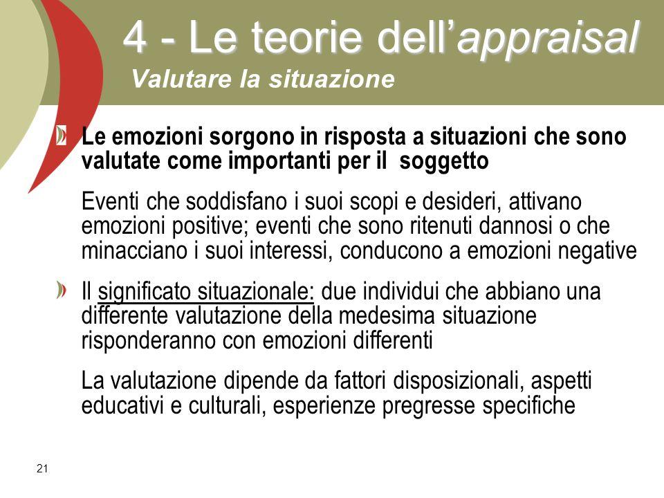 21 Le emozioni sorgono in risposta a situazioni che sono valutate come importanti per il soggetto Eventi che soddisfano i suoi scopi e desideri, attiv