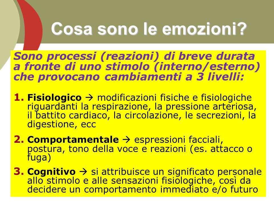 5 Cosa sono le emozioni? Sono processi (reazioni) di breve durata a fronte di uno stimolo (interno/esterno) che provocano cambiamenti a 3 livelli: 1.