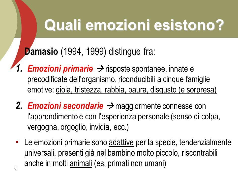 6 Quali emozioni esistono? Damasio (1994, 1999) distingue fra: 1. 1. Emozioni primarie  risposte spontanee, innate e precodificate dell'organismo, ri