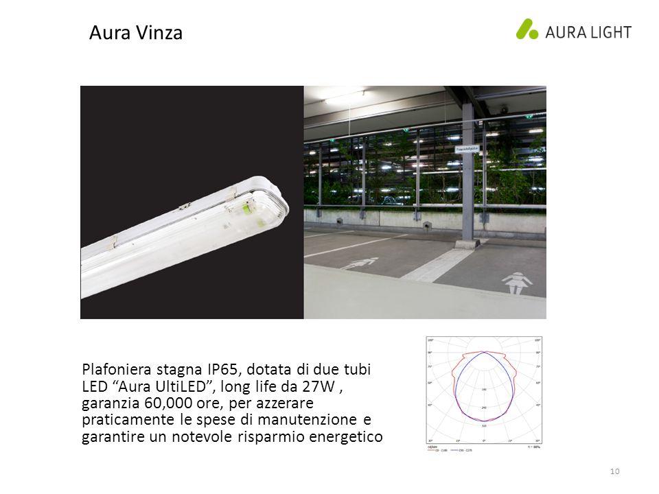 10 Aura Vinza Plafoniera stagna IP65, dotata di due tubi LED Aura UltiLED , long life da 27W, garanzia 60,000 ore, per azzerare praticamente le spese di manutenzione e garantire un notevole risparmio energetico