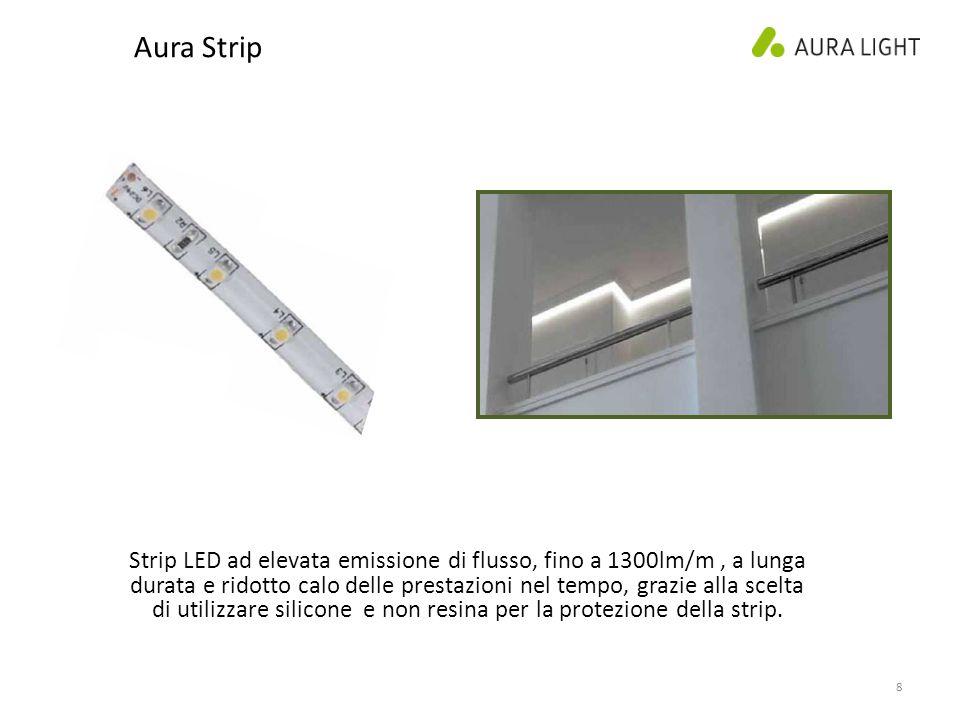 8 Aura Strip Strip LED ad elevata emissione di flusso, fino a 1300lm/m, a lunga durata e ridotto calo delle prestazioni nel tempo, grazie alla scelta di utilizzare silicone e non resina per la protezione della strip.