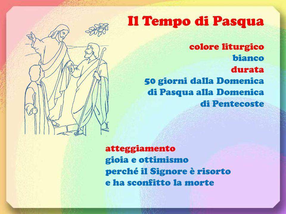 Il Tempo di Pasqua colore liturgico bianco durata 50 giorni dalla Domenica di Pasqua alla Domenica di Pentecoste atteggiamento gioia e ottimismo perch