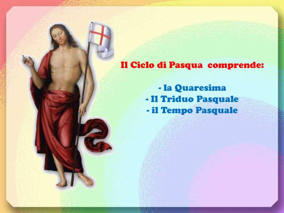 Il Ciclo di Pasqua comprende: - la Quaresima - Il Triduo Pasquale - il Tempo Pasquale