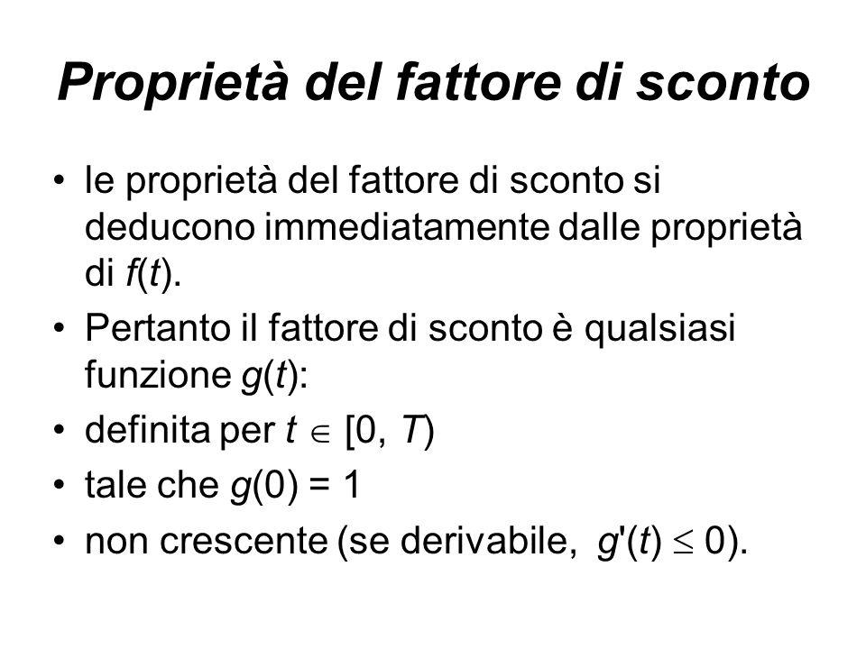 Proprietà del fattore di sconto le proprietà del fattore di sconto si deducono immediatamente dalle proprietà di f(t). Pertanto il fattore di sconto è