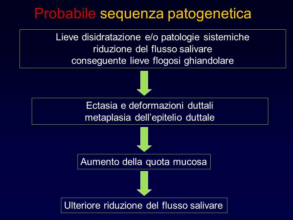 Probabile sequenza patogenetica Lieve disidratazione e/o patologie sistemiche riduzione del flusso salivare conseguente lieve flogosi ghiandolare Ecta