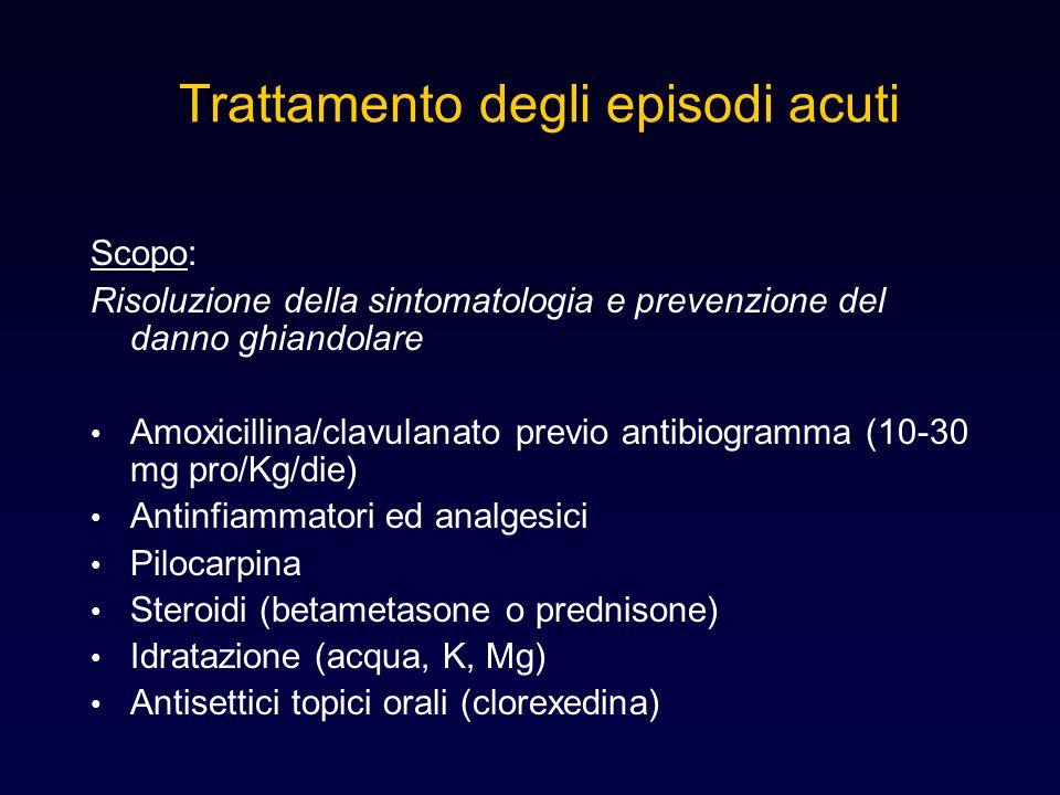 Trattamento degli episodi acuti Scopo: Risoluzione della sintomatologia e prevenzione del danno ghiandolare Amoxicillina/clavulanato previo antibiogra