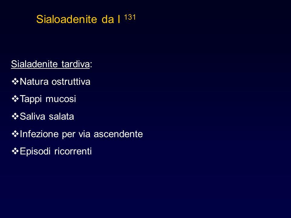 Sialadenite tardiva:  Natura ostruttiva  Tappi mucosi  Saliva salata  Infezione per via ascendente  Episodi ricorrenti Sialoadenite da I 131