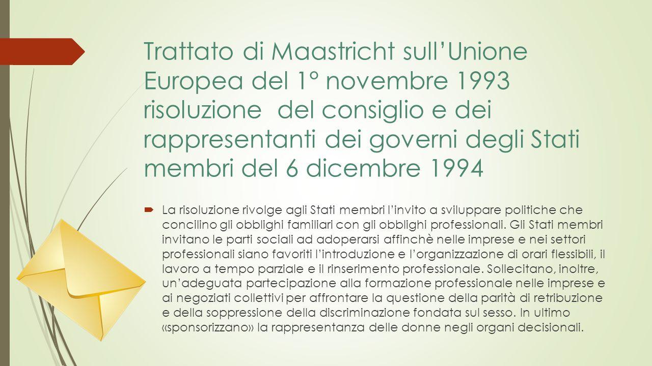 Trattato di Maastricht sull'Unione Europea del 1° novembre 1993 risoluzione del consiglio e dei rappresentanti dei governi degli Stati membri del 6 dicembre 1994  La risoluzione rivolge agli Stati membri l'invito a sviluppare politiche che concilino gli obblighi familiari con gli obblighi professionali.