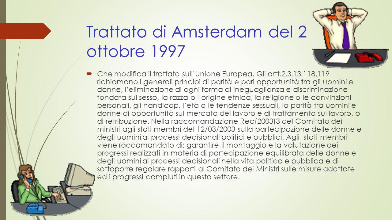 Trattato di Amsterdam del 2 ottobre 1997  Che modifica il trattato sull'Unione Europea.