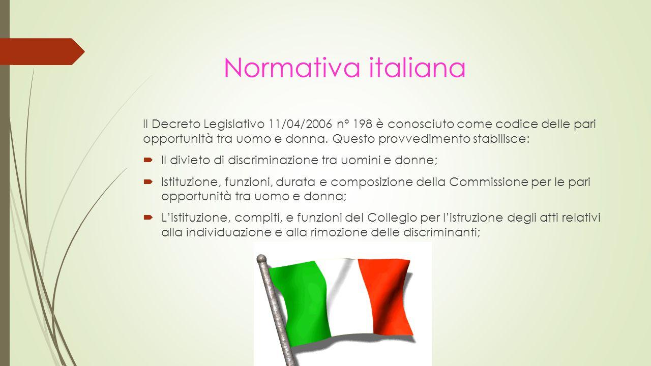 Il Decreto Legislativo 11/04/2006 n° 198 è conosciuto come codice delle pari opportunità tra uomo e donna.