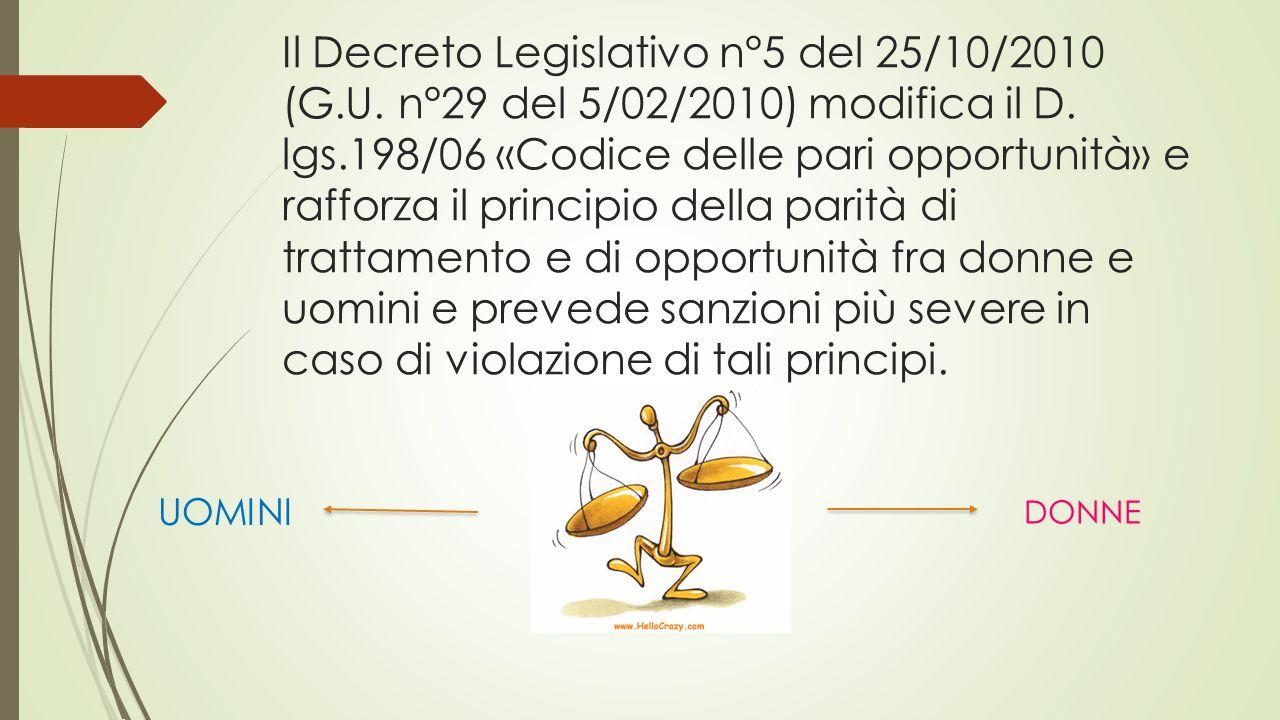 Il Decreto Legislativo n°5 del 25/10/2010 (G.U.n°29 del 5/02/2010) modifica il D.