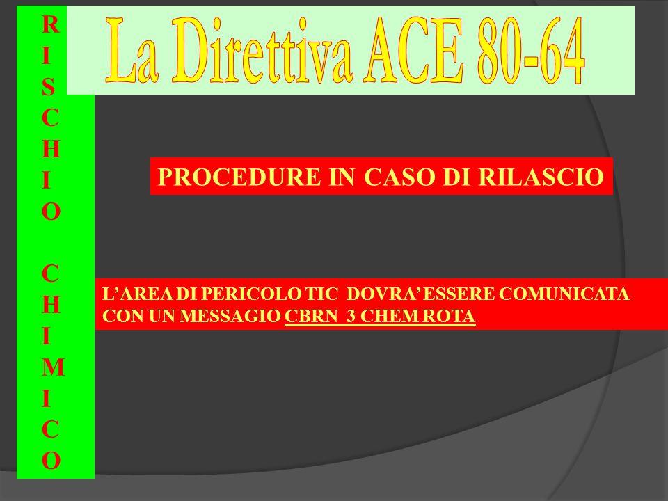 L'AREA DI PERICOLO TIC DOVRA' ESSERE COMUNICATA CON UN MESSAGIO CBRN 3 CHEM ROTA RISCHIOCHIMICORISCHIOCHIMICO