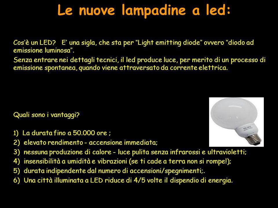 """Le nuove lampadine a led: Cos'è un LED? E' una sigla, che sta per """"Light emitting diode"""" ovvero """"diodo ad emissione luminosa"""". Senza entrare nei detta"""