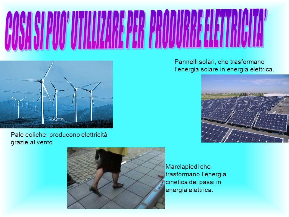 Pale eoliche: producono elettricità grazie al vento. Marciapiedi che trasformano l'energia cinetica dei passi in energia elettrica. Pannelli solari, c