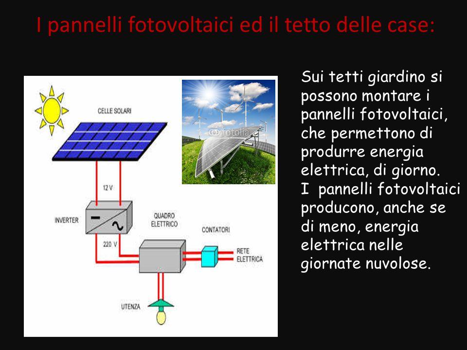 I pannelli solari per il riscaldamento dell'acqua dei sanitari e dei caloriferi: sui tetti giardino si possono montare, nelle posizioni adatte, a fianco dei pannelli fotovoltaici, i pannelli per il riscaldamento dell'acqua.