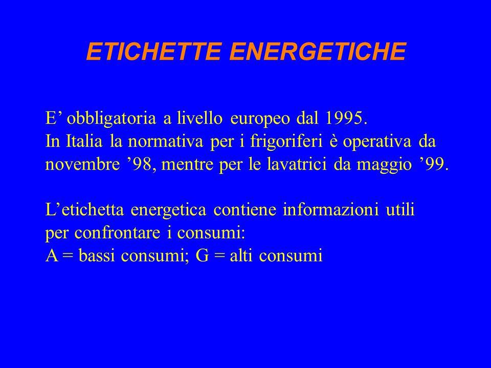 E' obbligatoria a livello europeo dal 1995. In Italia la normativa per i frigoriferi è operativa da novembre '98, mentre per le lavatrici da maggio '9