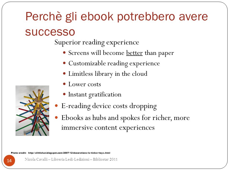 Perchè gli ebook potrebbero avere successo Superior reading experience Screens will become better than paper Customizable reading experience Limitless