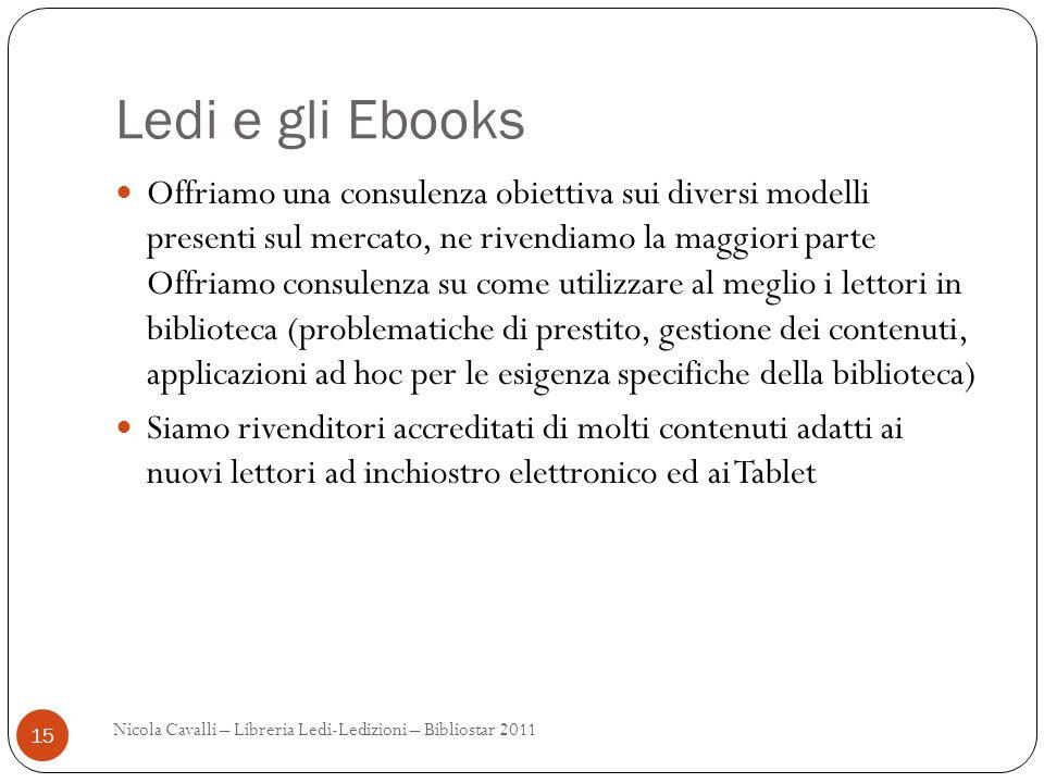 Ledi e gli Ebooks Offriamo una consulenza obiettiva sui diversi modelli presenti sul mercato, ne rivendiamo la maggiori parte Offriamo consulenza su c