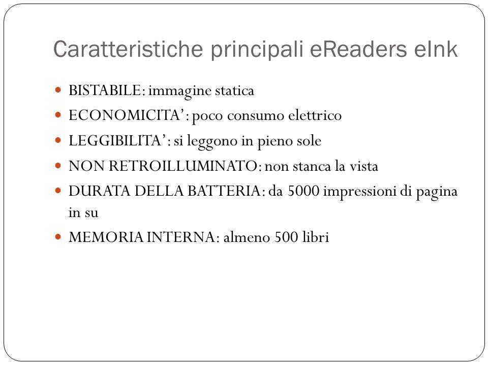 Caratteristiche principali eReaders eInk BISTABILE: immagine statica ECONOMICITA': poco consumo elettrico LEGGIBILITA': si leggono in pieno sole NON R
