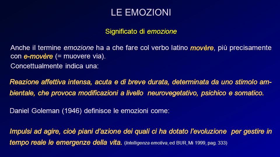 LE EMOZIONI Daniel Goleman (1946) definisce le emozioni come: