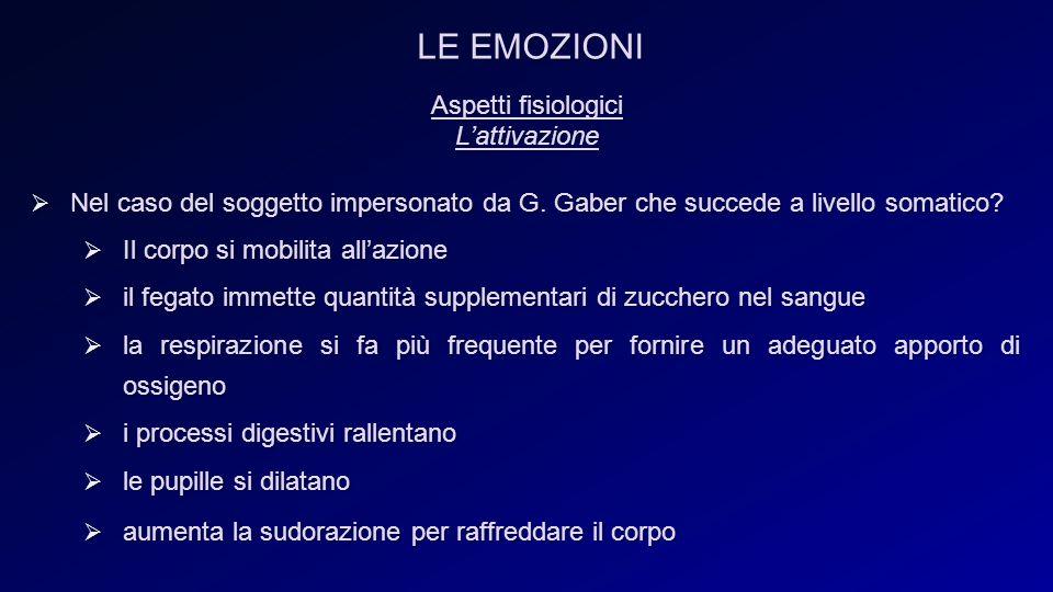 Aspetti fisiologici L'attivazione  Nel caso del soggetto impersonato da G.