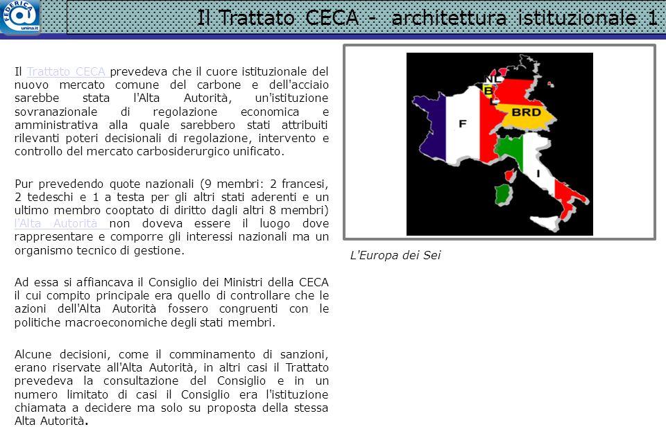 Il Trattato CECA - architettura istituzionale 1 Il Trattato CECA prevedeva che il cuore istituzionale del nuovo mercato comune del carbone e dell'acci