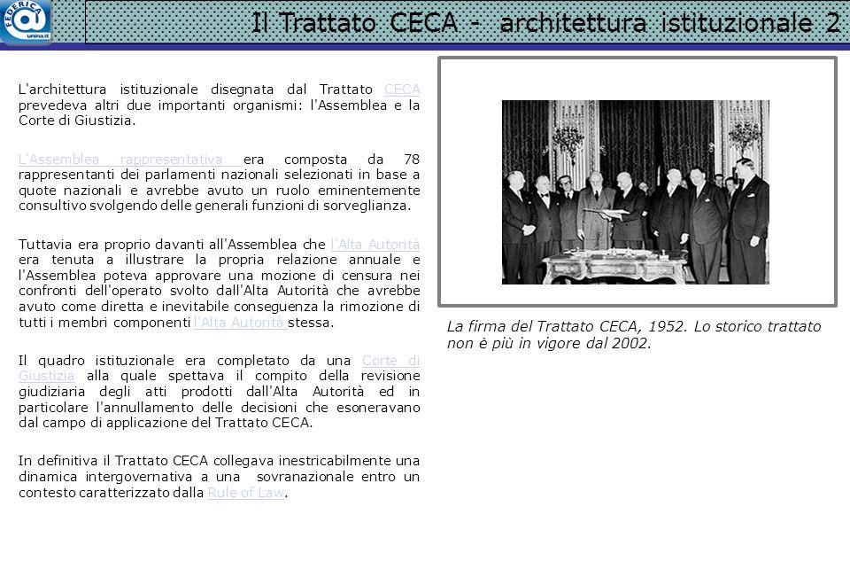 Il Trattato CECA - architettura istituzionale 2 L'architettura istituzionale disegnata dal Trattato CECA prevedeva altri due importanti organismi: l'A